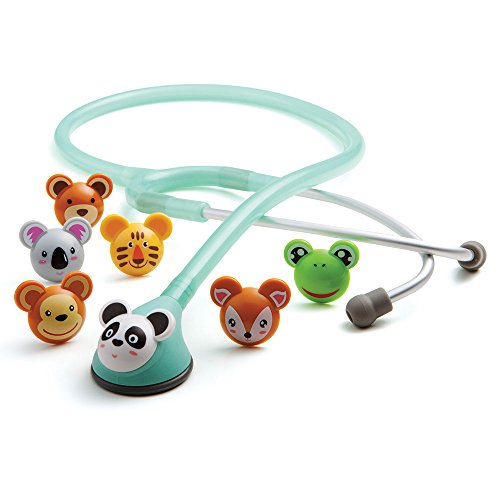 Infant Stethoscope - ADC Adscope Adimals 618 Pediatric Stethoscope With Tunable AFD Technology, Seafoam, 10.4 Ounce