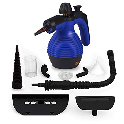 (Comforday Steam Multi Purpose Handheld Cleaners High Pressure Steamer with 9-Piece Accessories, Perfect for Stain Removal, Carpet,Curtains, Car Seats,Floor,Window Cleaning, Blue)