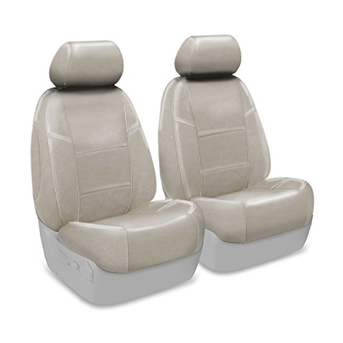 Coverking Custom Fit Front 50/50 Bucket Seat Cover for Select Ford Mustang Models - Genuine Leather (Beige)