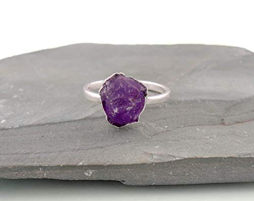 Raw Amethyst Gemstone Crystal Ring Jewellery For Mother, Amethyst Rock, Rough Amethyst, Electroformed Rings Sterling Silver, February Birthstone Size 7