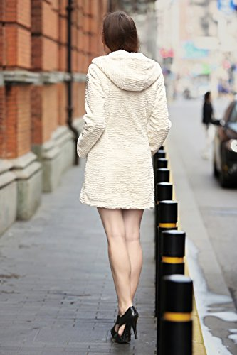 en Piel Para Adelaqueen de Persa Cordero Invierno de Chaqueta Mujer Piel Estupendo Abrigo Estilos Diversos Sintética Tres Beige de Cuartos de ZqvTZ