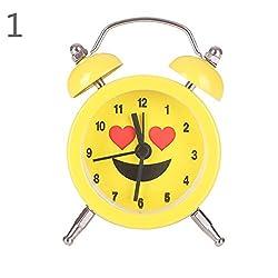 Braceus Lovely Emoji Face Mini Round Metal Alarm Clock Desk Stand Home Room Kitchen Office (1#)