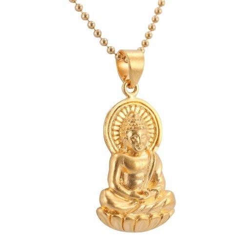 Amazon detailed sitting young buddha pendant in 24k gold plated detailed sitting young buddha pendant in 24k gold plated bronze on an 18quot 15mm mozeypictures Images