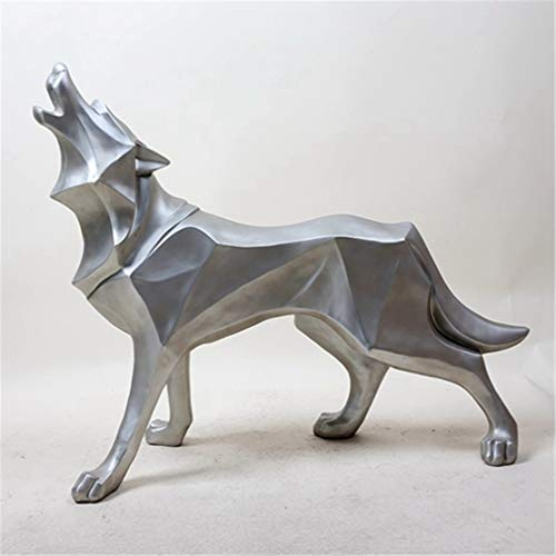 Wolf Resin Statue Model Modern Abstract Ice Wolf Wildlife Decor Gift Ornament Model Animal Totem Wolf Dog Sculpture Crafts Silver]()