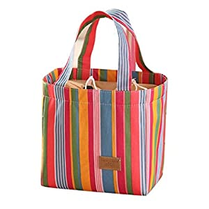TIFENNY Colorful Stripe Inner Aluminum Foil Lunch Bag