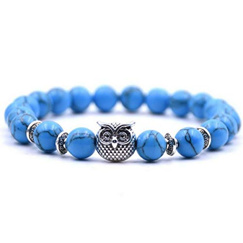 Mikash Natural Gemstone Healing Reiki Buddha Beaded Bracelets 8mm Blue Turquoise Beads | Model BRCLT - 38678 |
