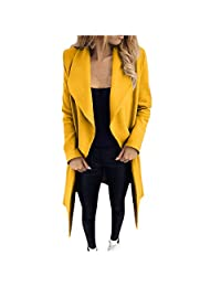 SNOWSONG Women Plain Shawl Collar Cardigan Jacket Wrap Open Front Longline Trench Coat with Belt