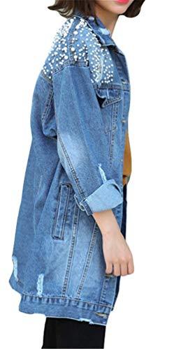Blau Giubotto Giacca Baggy Giacche Breasted Semplice Anteriori Giovane Lunga Tasche Outerwear Donna Perline Glamorous Manica Single Moda Di Bavero Strappato Autunno Jeans Elegante X6Bw6Uq