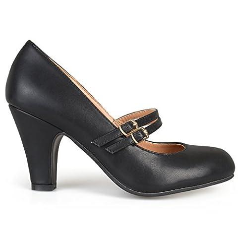 Brinley Co Women's Jackie Dress Pump, Black, 9 M US - Mary Jane Shoe Block Heel