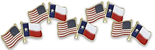 Forge USA and Texas Flag Enamel Lapel Pin (5 Pack) ()