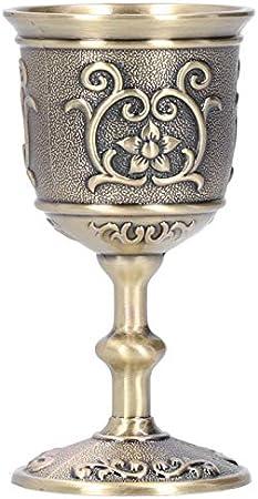 Pssopp Copas de Vino Copa de Vino de Bronce Copa de Vino Europea de la Vendimia en Relieve Copa de Vino casera Creativa para la Fiesta Boda Graduación Aniversario Navidad(3,6 x 1,9 x 1,9 Pulgadas)