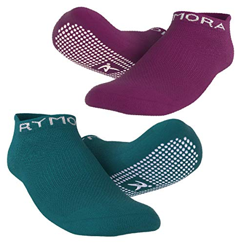 Rymora Grip Socks for Women & Men - Sticky Anti Slip Non Skid - Perfect for Yoga, Pilates, Barre, Hospital, Labor Delivery, Trampoline [2 Pairs: Purple & Teal] [Small: US Men: 4-7.5 / US Women: 5-8.5]