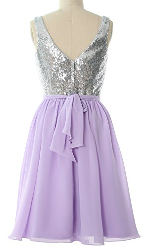 MACloth Dress Formal Short 2017 Sequin Neck Gown Party Bridesmaid Straps Women Lavendel V rxXU0zrTq