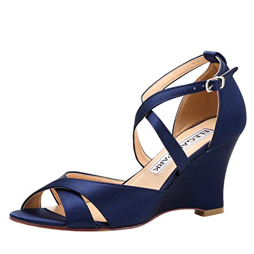 (ElegantPark WP1908 Women Peep Toe High Heel Bridal Wedding Shoes Wedges Satin Cross Straps Evening Party Sandals Navy Blue US 6.5 )