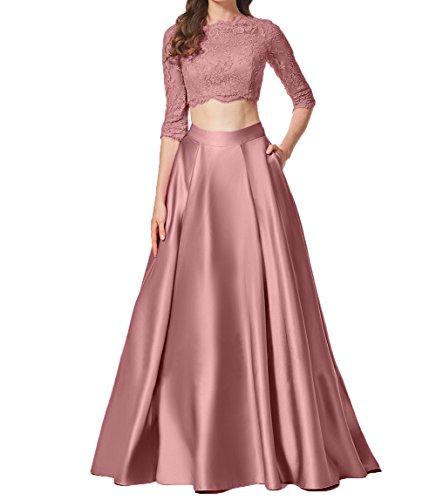 Alt Damen Charmant Cocktailkleider Rosa Bodenlang Langarm Zwei Spitze Promkleider Teilig Partykleider Elegant Abendkleid SxxP6
