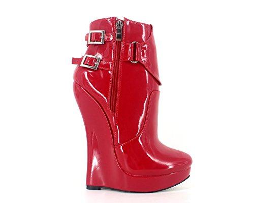 Wonderheel femme sexy boots plateforme cuir rouge fétiche cheville bottes verni wedge 18cm 7PwcEqvrP