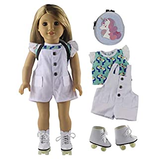 Aimee 18 inch Doll Clothes/ Shoes and Accessories, Ultimate Doll Playset– Children's Toys (4 Pieces Skating Doll Outfits-Doll Clothes+Shoes+Bag)