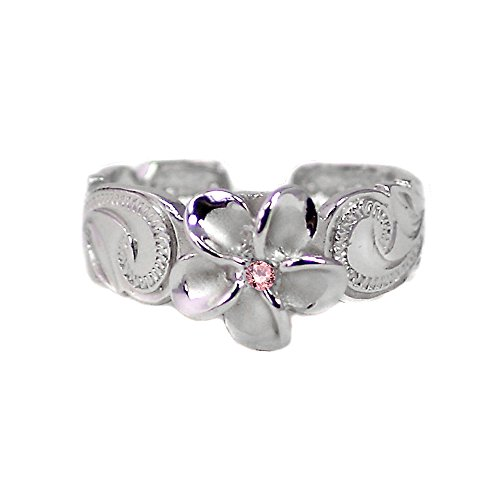 Hawaiian Sterling Silver Plumeria Toe Ring with Pink Synthetic Cz Crystal by Maile Silver