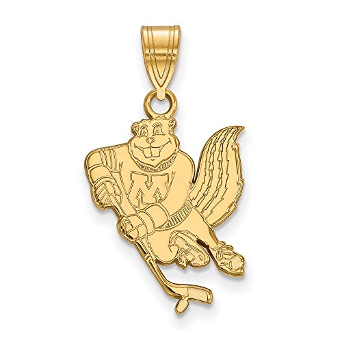Jewelry Stores Network Minnesota Golden Gophers Goldy Hockey Mascot Pendant Gold Plated Silver L - (19 mm x 15 mm) ()