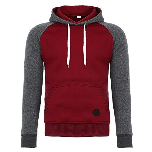 Lookvv Men Men's Athletic Hoodies, Cotton Pullover Hoodie Sweatshirt Comfort Gym Clothes Shirt Red - Cotton Bird Sweatshirt