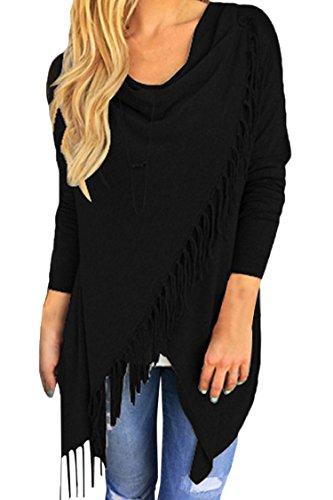 Pink Queen Women's Tassel Fringe Knit Pullover Sweater Cardigan Coat Black L