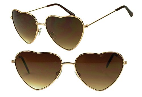 [Cute Thin Gold Metal Heart Shape Sunglasses 100% Uv400 Gradient Lens] (Katy Perry Sexy Outfits)