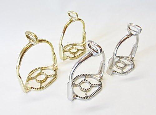 PS Pferdeartikel Paar Portugiesisch barocke Steigbügel Silber oder Goldfarben, 90° gedreht