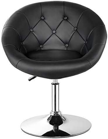 HAPPYGRILL Swivel Bar Chair, Round Tufted Back Swivel Chair Barstool, Adjustable Bar Stool Chair with Hydraulic Lift