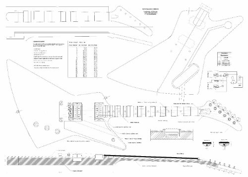 Set of 3 Gibson Electric Guitar Plans - Explorer, Flying V, Firebird Studio - Actual Size- Making Guitar or Framing BUY ONLY FROM SPIRIT FLUTES -