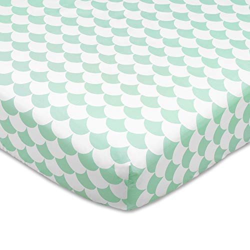 Lolli Living 100% Cotton Crib Fitted Sheet (Kayden Collection). Sea Glass Scallop Pattern Ultra-Soft Fitted Sheet for Standard Cribs ()