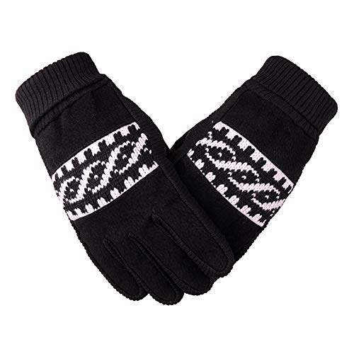 (Tech Touch Gloves | Winter Ski Men's Winter Riding Warm Plus Velvet Thick Slip Pigskin Outdoor Gloves Cycling Motorcycle (Color : Black))