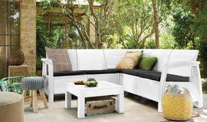 Keter Juego Salón Jardín Corfu Blanco sofá Angular 96 Mesa: Amazon.es: Jardín