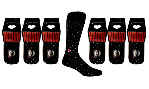 Individually Gift - 6 PACK MEN'S BLACK DRESS SOCKS - Individually gift boxed groomsmen dress socks with mini polka dots. Premium organic cotton (black, 6)