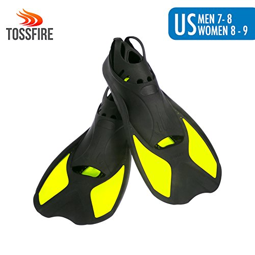 Travel Fins Short Floating Training Swimming Fins Adults US Size Men 7-8 Women 8-9 Ankle Width 2.9 Inch Thermoplastic Rubber Flippers Fins for Swimming Scuba Diving Snorkeling Watersports – Yellow