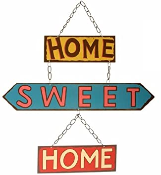 Home Sweet Home Retro Hanging Metal Sign Amazoncouk Kitchen Home