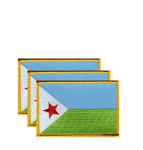 """PACK of 3 Djibouti Flag Patches 3.50"""" x 2.25"""", Djiboutian Embroidered Iron On or Sew On Flag Patch Emblem"""