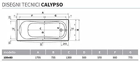 Cal116070 Bianco Novellini Vasca Calypso Incasso 160X70