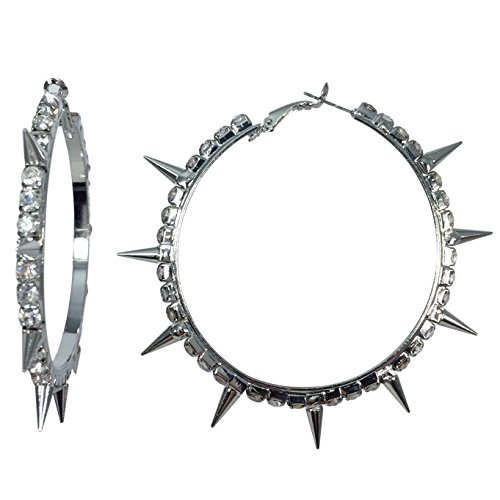 - Spike Clear Large Rhinestone Silver Tone Biker Chic Bling Statement Hoop Earrings