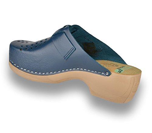 Leon Zapatillas Zuecos Para De Mujer Cuero Azul Zapatos Pu161 TTZRx64