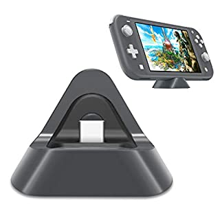 Portable Charging Dock for Nintendo Switch Lite and Nintendo Switch, Stable Support Stand Charging Station for Switch Lite with Type C Input Port (Grey)