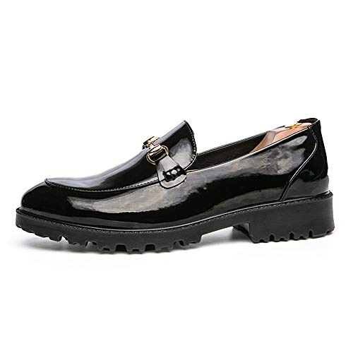 in con Scarpe Casual Bottoni Scarpe Fashion Nero da Bottone Stringate Cricket Men's Metallo con Metallo Inglesi in Business Oxford qw7xAY