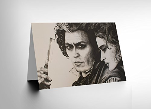 GREETINGS CARD SWEENY TODD JOHNNY DEPP ART BY W MAGUIRE - Blue Depp Johnny