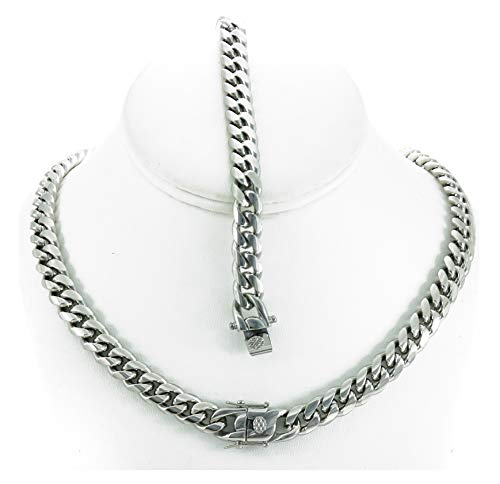 - Bling Bling NY Solid Silver Finish Stainless Steel 10mm Thick Miami Cuban Link Chain Box Clasp Lock (Chain 18'' & Bracelet 8'')