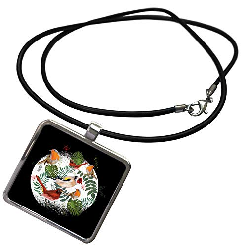 3dRose Sven Herkenrath Bird - Robin Birds with Nature Flowers and Blossom Bird - Necklace with Rectangle Pendant -