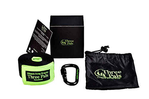 Three Pals Creations Tree Swing Strap 10 Ft Adjustable Hanging Kit with Carabiner, 2 Protective Covers, Pouch and Installation Guide by Three Pals Creations