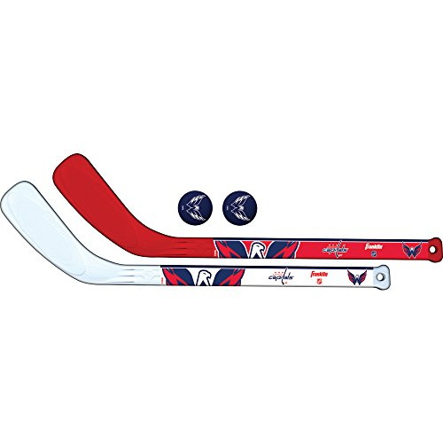 Franklin Sports Washington Capitals NHL Mini Hockey Stick Set - NHL Team Knee Hockey Stick and Ball Set - Two Player Stick Set - Great Toy for Kids