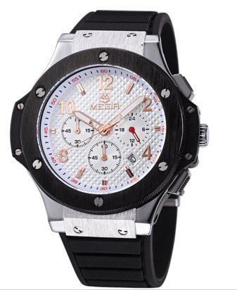 Megir Mens Chronograph Military Quartz Watch (Black Shell-White Face-Black - Watch 3 Subdial