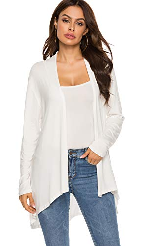 Women's Casual Long sleeve Open Front Lightweight Drape Cardigans With Pockets (US XL(16-18), White)