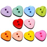 Pack of 100 Mixed Heart 2 Holes Resin Sewing Buttons Scrapbooking 12x11mm, for Sewing, Scrapbooking, Embelishments, Crafts, Jewellery making, Knitting,