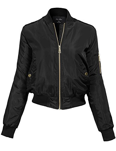 Warm Solid Color Classic Padding Bomber Jackets 144-black Large (Wool Cycling Sweater compare prices)